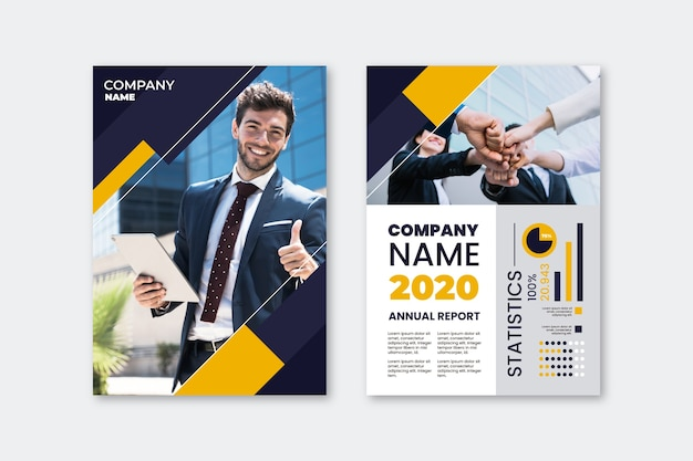 Modello del manifesto di presentazione aziendale con l'uomo di smiley