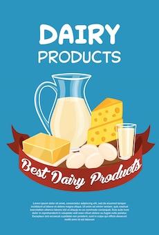 Modello del manifesto di prodotti lattiero-caseari