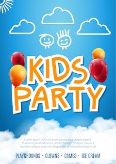 Modello del manifesto di progettazione dell'invito del partito dei bambini. volantino di celebrazione divertente per bambini