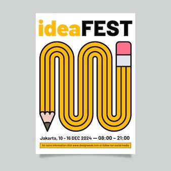 Modello del manifesto di progettazione grafica di festival di idea