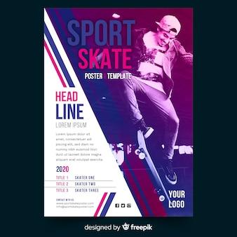 Modello del manifesto di sport con foto chiaroscuro