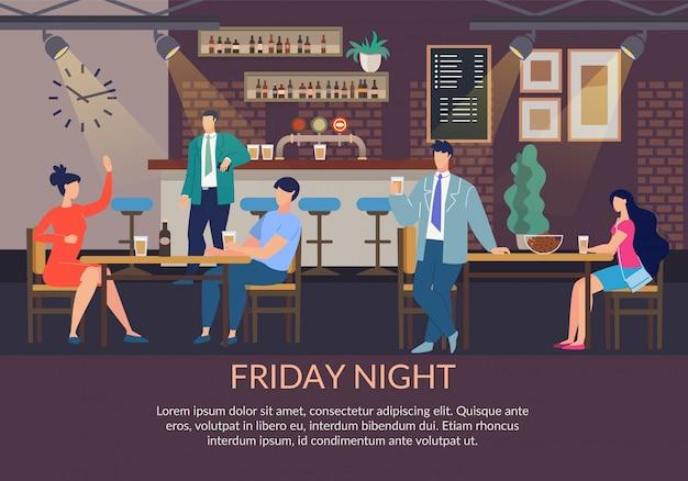 Modello del manifesto di venerdì notte