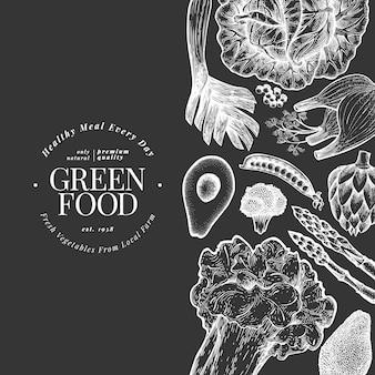 Modello del manifesto di verdure verdi.