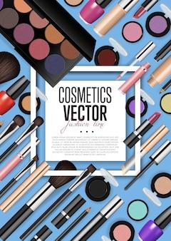 Modello del manifesto di vettore di realismo dell'assortimento dei prodotti cosmetici