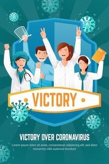 Modello del manifesto di vittoria sul coronavirus