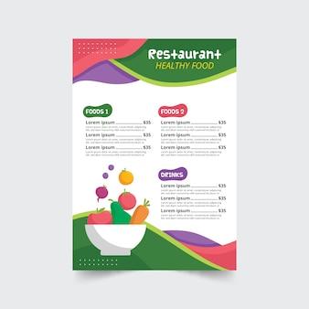 Modello del menu del ristorante illustrato alimento sano variopinto