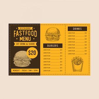 Modello del menu di burger dell'annata