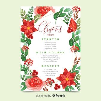 Modello del menu di natale dell'acquerello e bei fiori rossi
