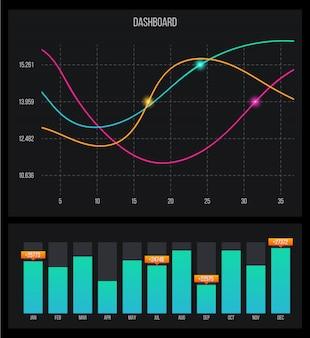 Modello del mercato azionario cruscotto infografica.