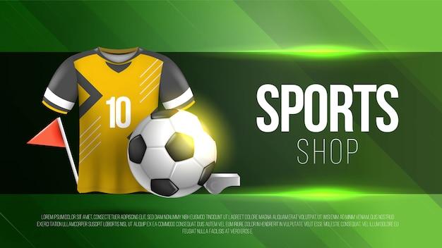 Modello del negozio di sport di calcio con fondo verde