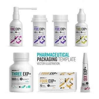 Modello del pacchetto della farmacia su fondo bianco