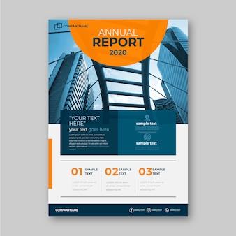 Modello del rapporto annuale di affari con il concetto della foto