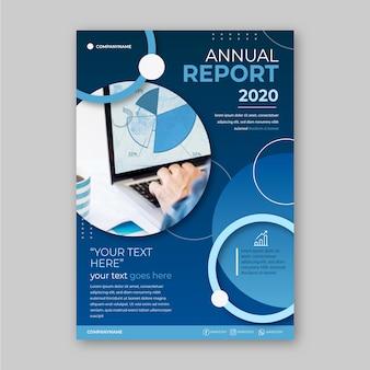 Modello del rapporto annuale di affari con la foto