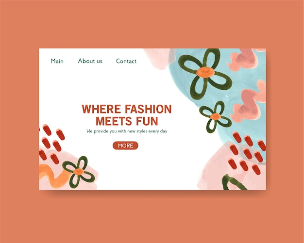 Modello del sito web con progettazione di acquisto per internet e l'illustrazione online dell'acquerello della comunità
