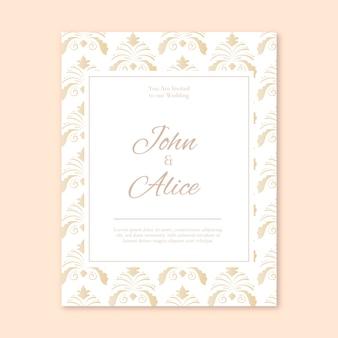Modello delicato dell'invito di nozze del damasco