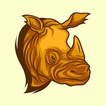 Modello dell'icona dell'illustrazione di progettazione di logo di vettore di testa di rinoceronte