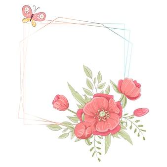 Modello dell'acquerello per una celebrazione del matrimonio con fiori e copyspace