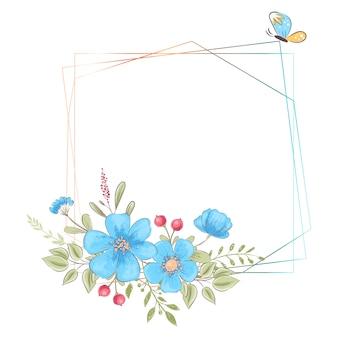 Modello dell'acquerello per una festa di compleanno di compleanno con fiori e spazio per il testo