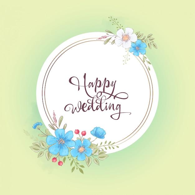 Modello dell'acquerello per una festa di compleanno di compleanno con fiori