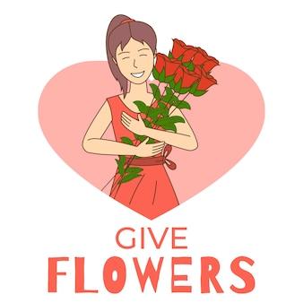 Modello dell'aletta di filatoio di giorno del fiore con lo spazio del testo. negozio di fiori, vendita, festa della donna, poster di giardinaggio.