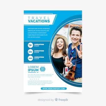 Modello dell'aletta di filatoio di vacanze di viaggio con la foto