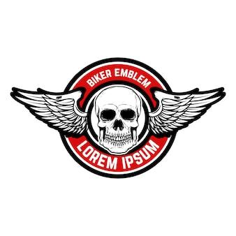Modello dell'emblema del racer club. teschio con le ali. elemento per logo, etichetta, distintivo, segno. illustrazione