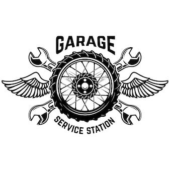 Modello dell'emblema della stazione di servizio. ruota auto con ali. elementi per emblema, segno, poster. illustrazione