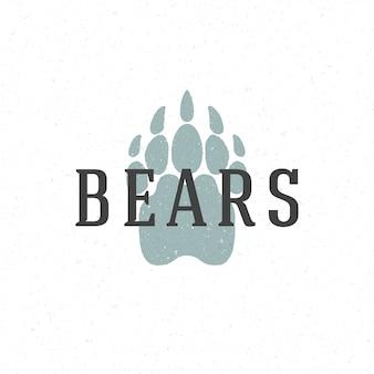 Modello dell'emblema di logo disegnato a mano della pista della zampa di orso