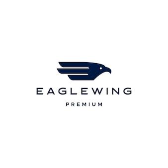 Modello dell'icona di logo dell'uccello dell'ala d'aquila