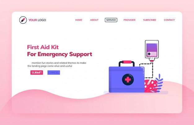 Modello dell'illustrazione della pagina di destinazione del kit di pronto soccorso per il supporto di emergenza.
