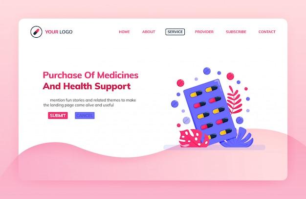 Modello dell'illustrazione della pagina di destinazione dell'acquisto della medicina e del supporto sanitario.