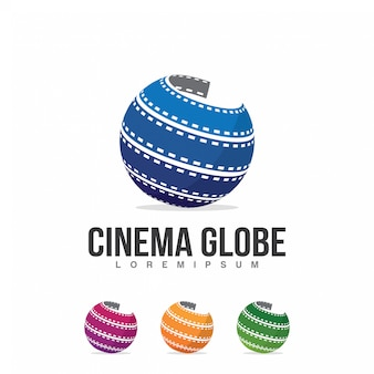 Modello dell'illustrazione di logo del globo del cinema