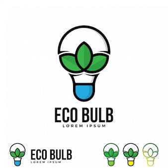 Modello dell'illustrazione di logo della lampadina di eco.