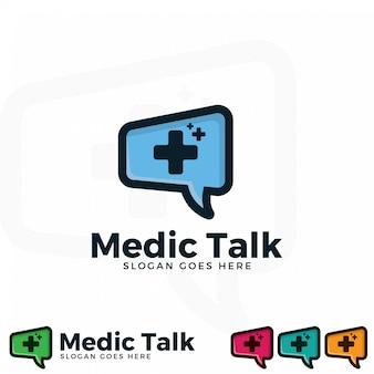 Modello dell'illustrazione di logo di conversazione dell'erba medica.