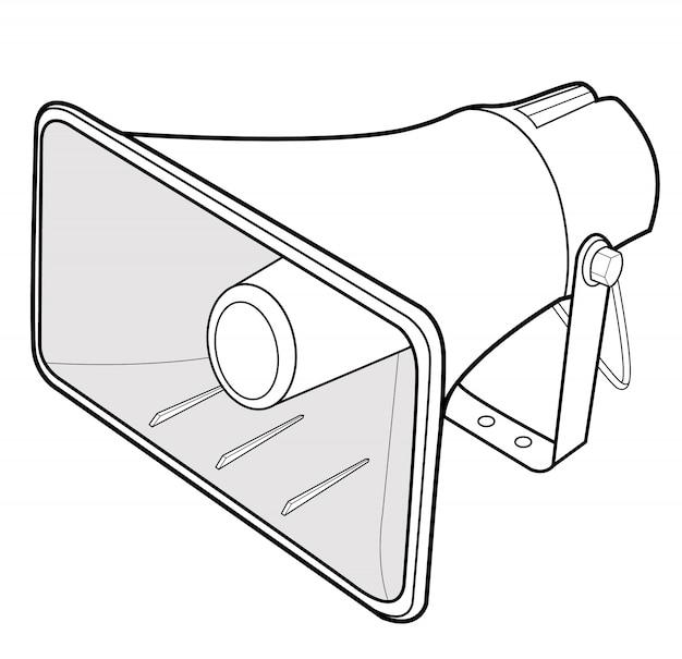 Modello dell'illustrazione di progettazione di vettore dell'altoparlante del megafono