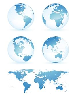 Modello dell'illustrazione di progettazione di vettore della mappa della terra del globo