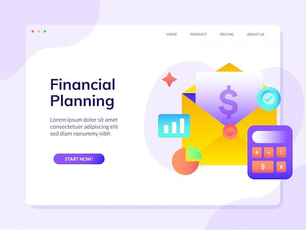 Modello dell'illustrazione di progettazione di vettore della pagina di destinazione del sito web di pianificazione finanziaria