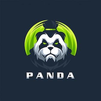 Modello dell'illustrazione di vettore di progettazione di logo del panda pronto per l'uso