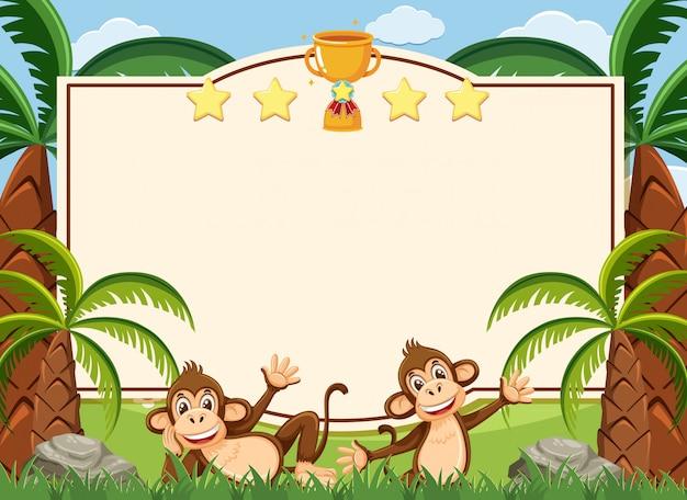 Modello dell'insegna con due scimmie felici nel parco