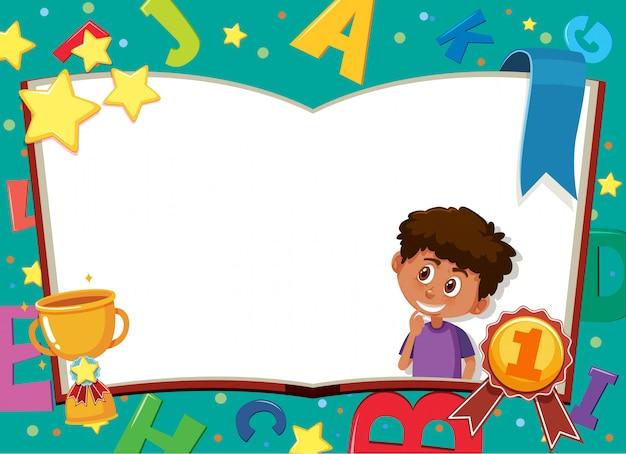Modello dell'insegna con il ragazzo felice e gli alfabeti inglesi