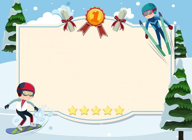 Modello dell'insegna con la gente che fa gli sport invernali nella neve