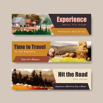 Modello dell'insegna con paesaggio nella progettazione di autunno