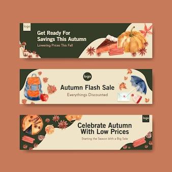 Modello dell'insegna con progettazione di massima quotidiana di autunno per l'acquerello di promozione e di vendita