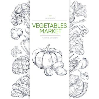 Modello dell'insegna dei mercati di verdure con verde disegnato a mano
