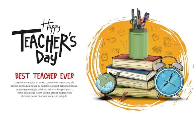 Modello dell'insegna del giorno dell'insegnante felice