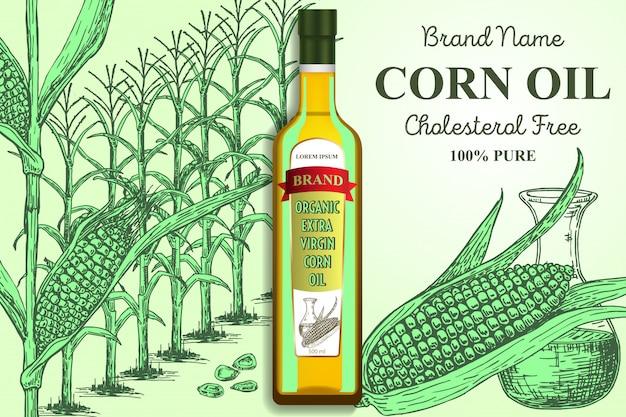 Modello dell'insegna del manifesto degli annunci di marca dell'olio di mais