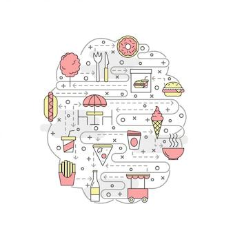 Modello dell'insegna del manifesto dell'alimento della via di arte della linea sottile