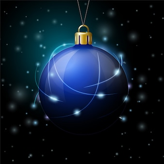 Modello dell'insegna del nuovo anno di vettore con la palla che splende nel buio.