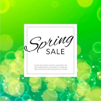 Modello dell'insegna del quadrato di vendita della primavera con le bolle verdi della sfuocatura dell'acquerello