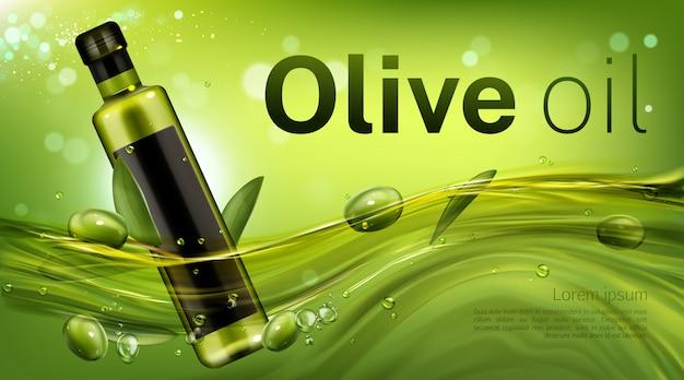 Modello dell'insegna della bottiglia di olio d'oliva, boccetta in bianco di vetro che galleggia nel flusso verde liquido con foglie e bacche. prodotto vegetale per la promozione di una cucina sana